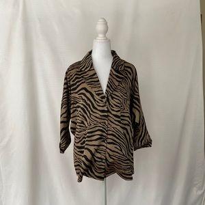NastyGal Zebra Print v-neck blouse